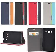 diseño tricolor de cuero de la PU caso de cuerpo completo con soporte para Samsung núcleo galaxia 2 g3556d / g355h (colores surtidos)