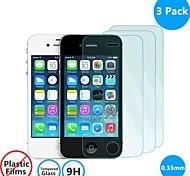 3 pack 0.26mm protector de la pantalla de vidrio templado con paño de microfibra para el iphone 4 / 4s