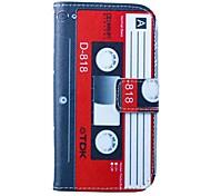 patrón de la cinta roja-blanca de la PU cuero caso de cuerpo completo con soporte para i9500 de Samsung s4