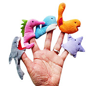5PCS Sea Animal Plush Finger Puppets Kids Talk Prop