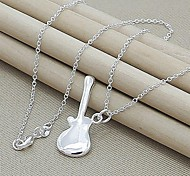 Contracted Fashion Silver Plated Guitar Pendant Necklace