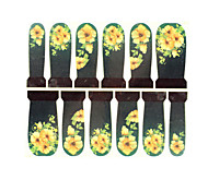 12PCS Yellow Pattern Watermark Nail Art Stickers C6-017