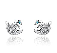 Lovely 18K Platinum Plated Jewelry Use Shining Clear Austria Crystal Blue Eyes Swan Stud Earrings