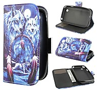 Two Wolves Wallet PU Leather Case Cover with Stand and Card Slot for LG L40 D160