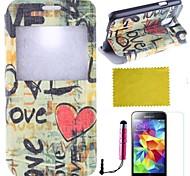 Für mit Halterung / Flipbare Hülle / Muster Hülle Handyhülle für das ganze Handy Hülle Herz Hart PU - Leder Samsung S5 Mini