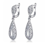 Retro Style 18K Platinum Plated Jewelry Use Shining Clear Austria Crystal Charm WaterdropEarrings