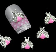 10pcs Alloy Insect With Rhinestone Wings Accessories For DIY Sticking Nail Art Decoration