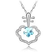 Ei Lute Gorgeous Ladies Short Necklace Plated With 18K True Platinum Aquamarine Crystallized Austrian Crystal Rhinestone