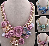 moda cristal jóia colar de flores