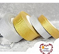 25 Yards 15mm Wide Gold or Silver Glitter Shiny Ribbon, Wedding Party DIY Glitter Shiny Ribbon
