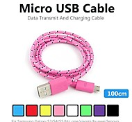 Micro USB 2.0 Braided PVC Cables 100cm