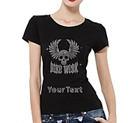 Personalized T-shirts Bike Week Silver Skull Pattern Women's Cotton Short Sleeves
