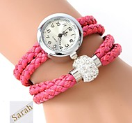 Personalized Gift  Women's Two-Layer Wrap PU Leather Bracelet Analog Engraved Watch  with Rhinestone