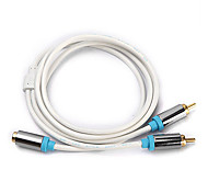 CYK 3M 9.84FT RCA Female to 2RCA Male Audio Video Cable Free Shipping - White