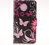 Pink Butterly Pattern PU Leather Case with Stand and Card Slot for Samsung Galaxy A3