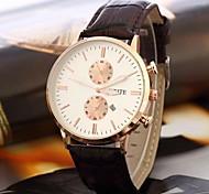 relógio estilo casual vestido pulseira de couro de quartzo dos homens (cores sortidas)