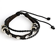 Fashion Supper Value Price Fashion Punk  Genuine Leather and PU Rhinestone Adjustable Bracelet