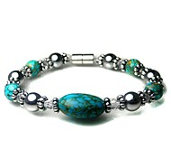 """Rainso® Hematite magnetic with  Turquoise adjustable handmade bracelet For women  8.0"""""""
