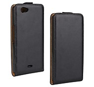 Flip-Open Solid Color Pattern Genuine Leather Full Body Case for Wiko Highway Signs