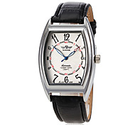 Men's Classic Square Dial Black Leather Band Automatic Self Wind Wrist Watch (Assorted Colors)
