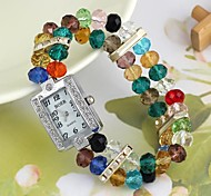Women's Colorful Beads Plastic Chain Quartz Analog Bracelet Watch