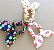 Fashion Lips Dot Floral Super Elastic Rabbit Ears(Color Random)