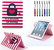 Heart Lock Stripe Pattern PU Full Body Case Revolving And Stand Case for iPad mini 1/2/3