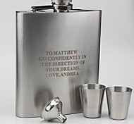 Personalized Gift 18 oz  Curve Flask  With Cups and Funnel