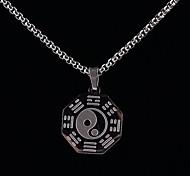 Z&X®  Chinese Style Taichi Titanium Steel Golden / Silver Pendant Men's Necklace