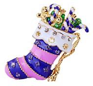 moda colorida meias natal forma broche