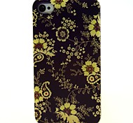 Coffee Bottom Small Huang Hua Pattern PU Leather Full Body Case with Card Slot and Stand for iPhone 4S