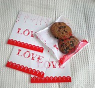 50pcs LOVE Self Adhesive Cookie Bakery Candy Biscuit Jewelry Gift Plastic Bag
