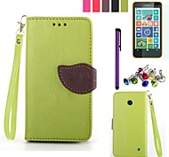 Leaf Design PU Leahter Case with Film,Stylus and Dust Plug for Nokia Lumia 630/635 (Assorted Colors)