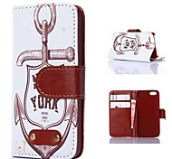 Anchor Pattern PU Leather Case for iPhone 4/4S