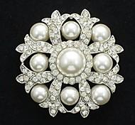 lindo claro perlas de imitación de diamantes de imitación pin broche broche para la boda nupcial del partido de baile