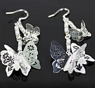 hermosos aretes de mariposa de plata - plata (1 par)