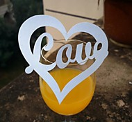 12pcs Laser Cut Love Heart Cup Cards Name Place Escort Card for Wine Glass Wedding Baby Shower Party Decoration