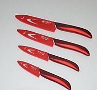 4 Stück 3 '' / 4 '' / 5 '' / 6 '' Blume gedruckt Keramikmesser mit Abdeckungen eingestellt