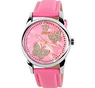 Frauen Schmetterling Muster elegante Zifferblatt Lederband Mode Armbanduhr (farbig sortiert)