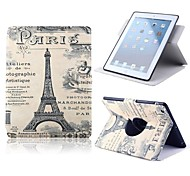 Caricature of the Eiffel Tower Design PU Full Body Case with Stand for iPad Air