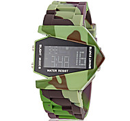 Men's Aircraft Style Camouflage Pattern LCD Digital Silicone Band Wrist Watch