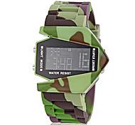 estilo aeronave padrão de camuflagem lcd silicone relógio digital de pulso banda masculina