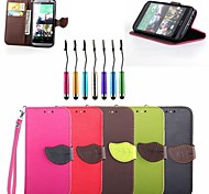 Leaf Buckle PU Leather Full Body Case with Touch Pen for HTC One M8 (Assorted Colors)