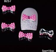 10pcs Cute Pearl Bowtie Alloy Rhinestone Nail Tips DIY Nail Art Decoration
