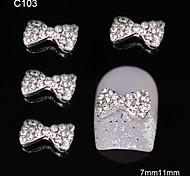 10pcs Glitter Rhinestone Cute Bowtie DIY Alloy Accessories Nail Art Decoration