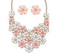 Z&X®  Sweet Flowers Necklace And Earrings Jewelry Set (1 set, 5 Colors Options: Pink, Blue, Green, Black, Yellow)