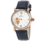 Women's Automatic Self Wind Hollow Heart Dial Leather Band Wrist Watch (Assorted Colors)