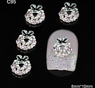 10pcs Xmas Gifts Rhinestone Ring Bowtie DIY Alloy Accessories Nail Art Decoration