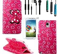patrón de arco amor cuero de la PU con el lápiz táctil, película protectora 2 piezas, kit manos libres portátil para Samsung Galaxy Note 3