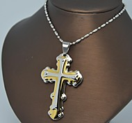 Fashion Silver Gold Stainless Steel Cross  Pendant Necklace
